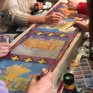 Group silk painting