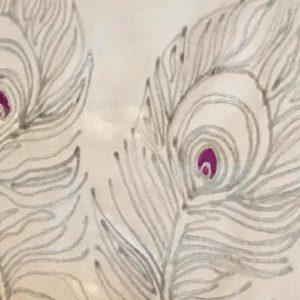Silk painting peacocks